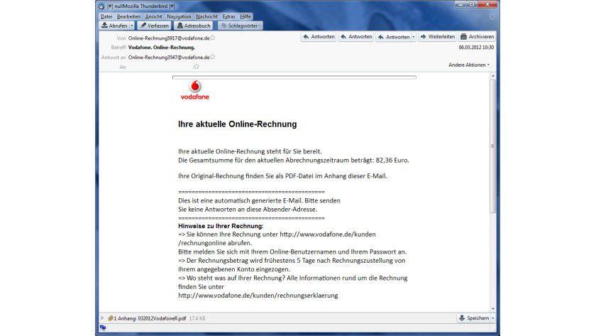 Gefälschte Vodafone-Rechnung: Die E-Mail informiert vermeintlich über die aktuelle Rechnung. Der Schadcode befindet sich im PDF-Anhang.