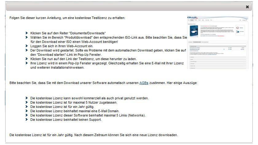 Testversion: Der aktuelle Collax Business Server darf auch im kommerziellen Einsatz getestet werden.