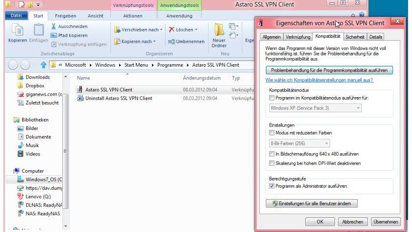 Adminrechte: Auch in Windows 8 lassen sich Programme immer als Admin starten.