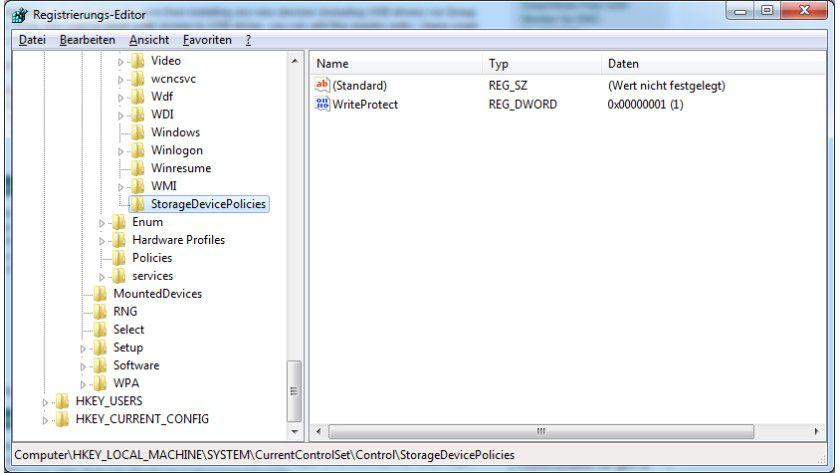 Schreib-Blockade: Dieser Registry-Eintrag erlaubt nur noch den Lesezugriff auf USB-Speicher.