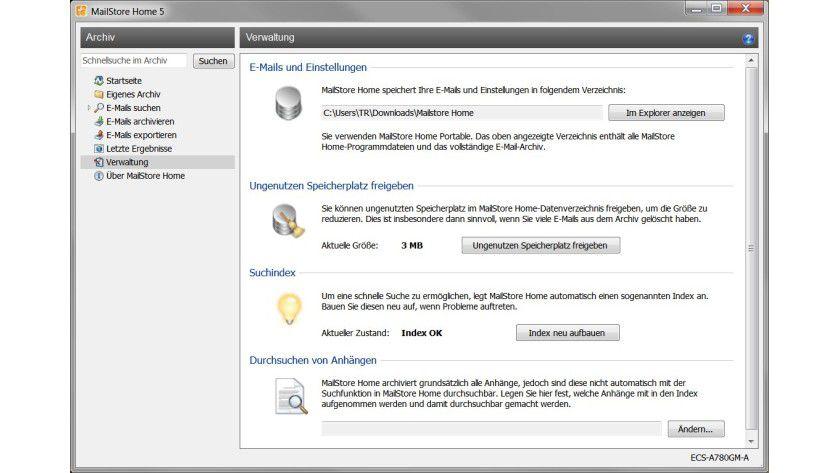 Verwaltung: Wer zusätzlich zu den E-Mails auch deren Anhänge durchsuchen möchte, muss angeben, welche Dateitypen einbezogen werden sollen.