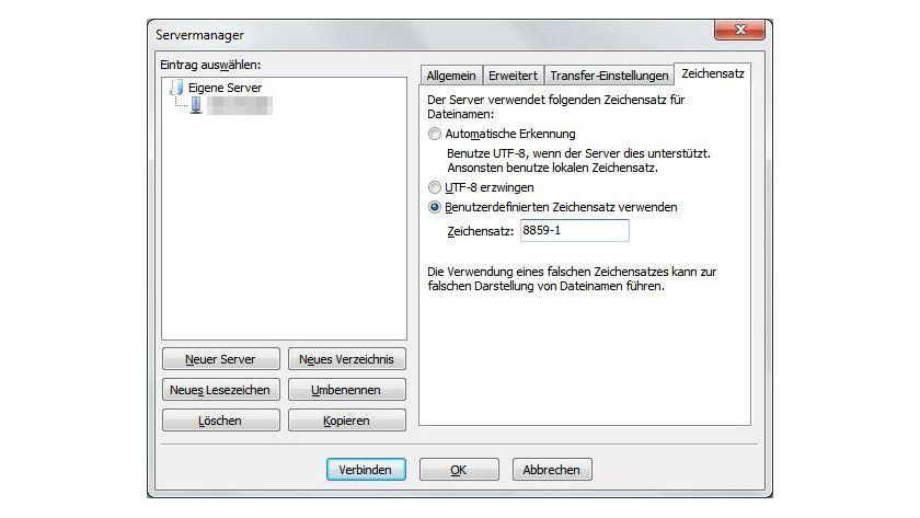 Keine Automatik: Nur wer im Servermanager den benutzerdefinierten Zeichensatz 8859-1 angibt, kann Dateien und Ordner mit Umlauten übertragen.