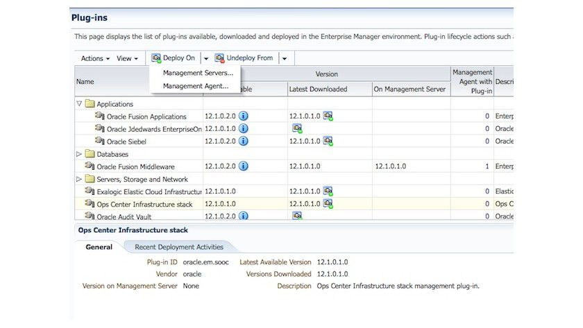 Details: Der Oracle Enterprise Manager 12c integriert den Oracle Enterprise Manager Ops Center 11g als Plug-in.