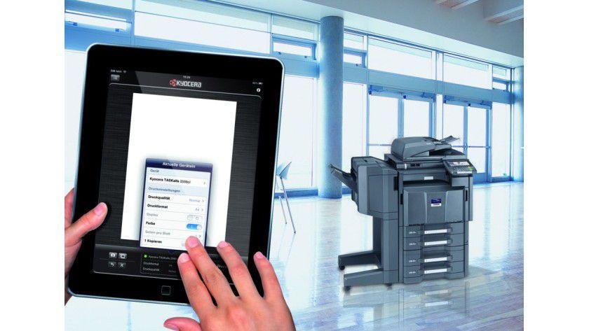 Kyocera Mobile Print: Die App für iOS und Android unterstützt Drucken und Scannen im Unternehmensnetzwerk.