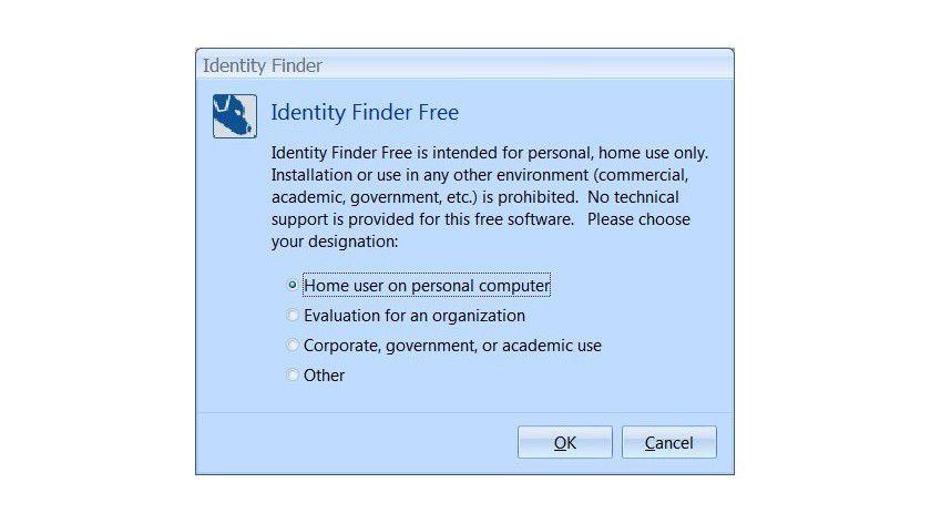 Nur für den Privatgebrauch: Die kostenlose Version von Identity Finder ist auf Heimanwender beschränkt.