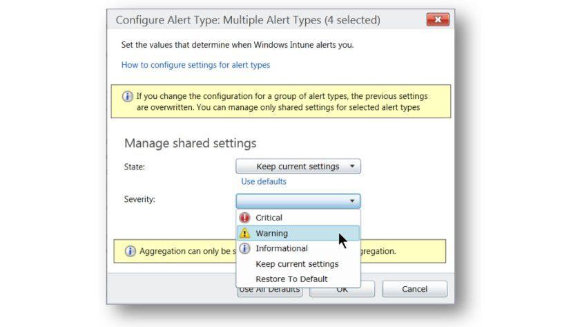 Windows Intune: Es lassen unterschiedliche Warnungen in der Administratorkonsole konfigurieren.