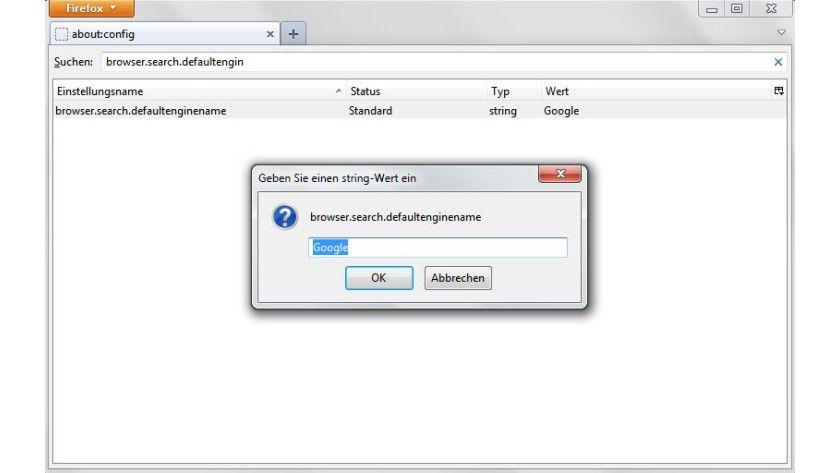 Expertenoption: Um die von Firefox genutzte Standardsuchmaschine zu ändern, muss man tiefer in die Konfiguration eingreifen.