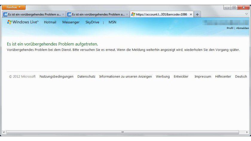 Kein Zugang: Die Fehlermeldung von Windows Live deutet auf ein technisches Problem.