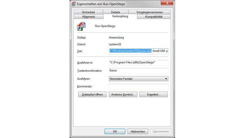 Fest verdrahtet: Der vorgesehene Pfad zur Java-Programmdatei stimmt bei modernen Windows-Varianten nicht mehr, sodass es zu einer Fehlermeldung kommt.