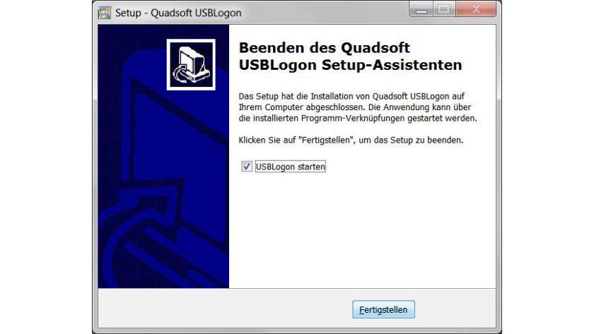 Direktstart: Nach Abschluss der Installation kann man USBLogon sofort nutzen.