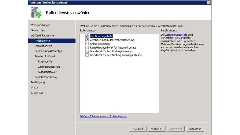 Vorarbeit: Installieren Sie eine Zertifizierungsstelle.
