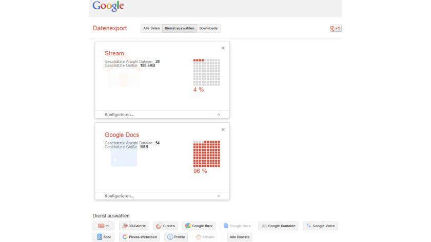 Google Takeout: Download-Portal für persönliche Daten in Google-Diensten.