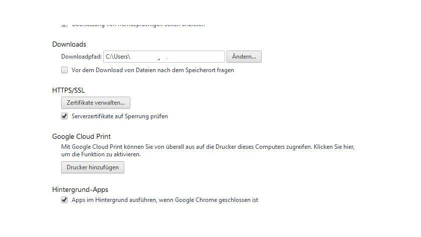 Zertifikat prüfen: Ist diese Option aktiv, überprüft Chrome die Verschlüsselung zu Seiten bei jeder Verbindung.