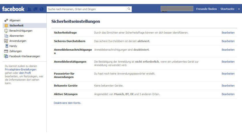 Gesicherte Verbindung: Facebook verschlüsselt den Zugriff auf Wunsch per HTTPS.