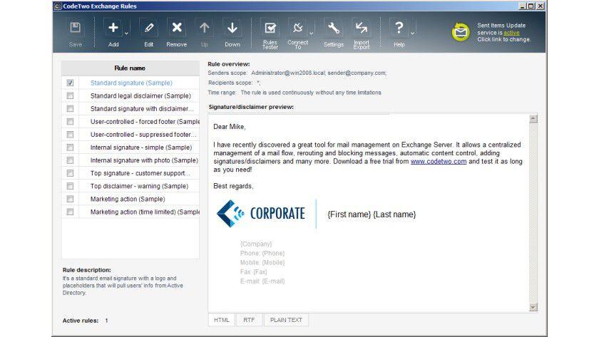 CodeTwo Exchange Rules: Das Tool soll Admins den Umgang mit Signaturen und Disclaimern erleichtern.