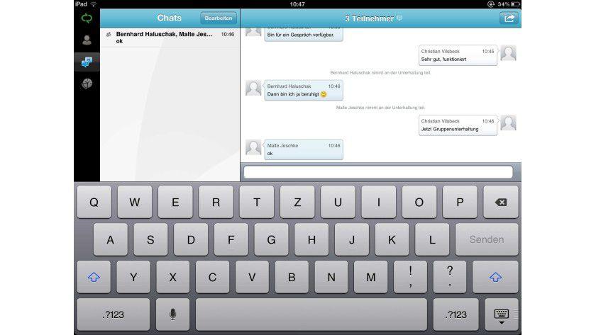 Lync: Die App erlaubt erlaubt Gruppenunterhaltungen und zeigt den Status von allen Kollegen an.