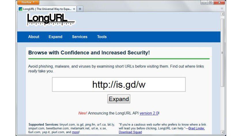 Verlängerung: Aus Sicherheitsgründen sollte man vorab untersuchen, wohin Kurz-URLs den Anwender führen.