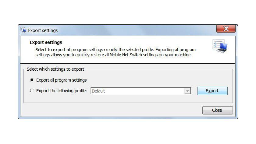 Export: Das Tool bietet die Möglichkeit, Profil- und Programmeinstellungen zu speichern.
