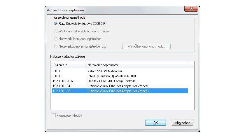 """Einschränkung: Ohne Capture-Treiber, etwa die Freeware WinPcap, ist nur die Aufzeichnungsmethode """"Raw Sockets"""" verfügbar."""