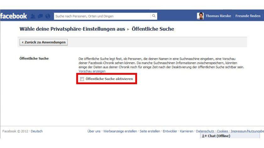 """Inkognito: Wer mit seinem Facebook-Profil nicht über Suchmaschinen auffindbar sein will, muss das Häkchen vor """"Öffentliche Suche aktivieren"""" entfernen."""