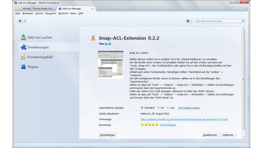 Erweiterung: In Thunderbird hilft ein Add-on, die Rechte für gemeinsam genutzte IMAP-Ordner zu verwalten.