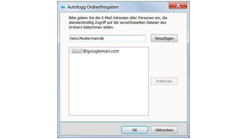 Freigaben: Um verschlüsselte Dateien mit anderen zu teilen, muss man deren E-Mail-Adresse angeben. Ein Cloudfogger-Account ist für diese Funktion Voraussetzung.