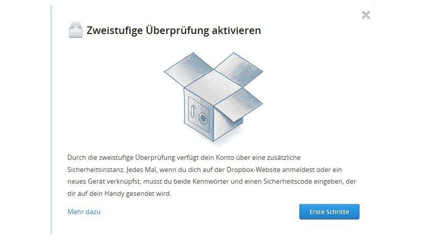 Besser geschützt: Als zusätzliche Sicherheitsebene hat Dropbox eine zweistufige Überprüfung eingeführt.