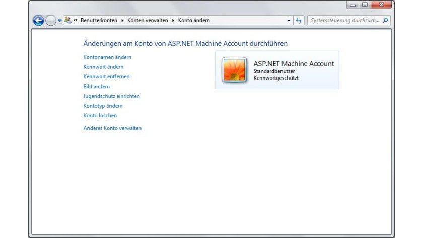 """Ungefragt angelegt: Wer das .NET-Framework installiert, findet auf dem PC ebenfalls das ohne Rückfrage erstellte Konto """"ASP.NET Machine Account""""."""