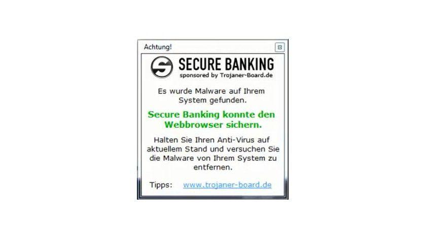 Malware-Fund: Erkennt das Tool einen Banking-Trojaner, informiert es den Anwender in einem separaten Fenster darüber.