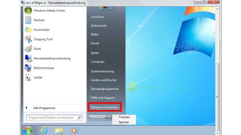 """Remotesteuerung: Auf dem entfernten PC fehlen die Befehle zum Herunterfahren und Neustarten. Sie lassen sich unter Windows 7 einblenden, indem der Benutzer im Startmenü auf den Punkt """"Windows-Sicherheit"""" (rot hervorgehoben) klickt."""