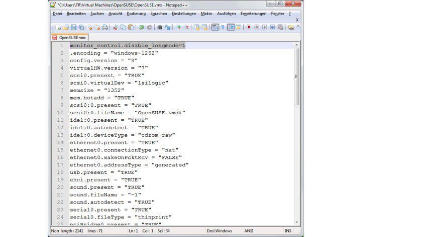 Ergänzung: Fügt man in die VMX-Datei die hervorgehobene erste Zeile ein, lassen sich Gastsysteme auch als 32-Bit-Version auf einem 64-Bit-Host nutzen.