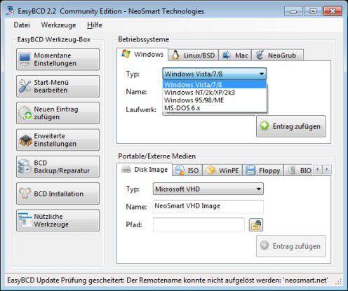 EasyBCD: Das kostenlose Tool unterstützt den Anwender beim Erstellen, Konfigurieren und Verwalten von Boot-baren Betriebssystemen im integrierten Boot-Manager von Windows 7 und Vista.