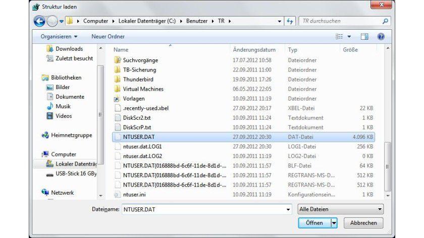 Fremde Registry: Die Registry-Struktur eines anderen Anwenders lässt sich über die NTUSER.DAT aus dessen Benutzerverzeichnis laden.