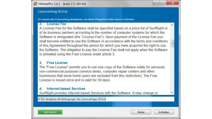 """Kostenloser Testzeitraum: Die """"Free License"""" lässt sich 30 Tage lang nutzen."""