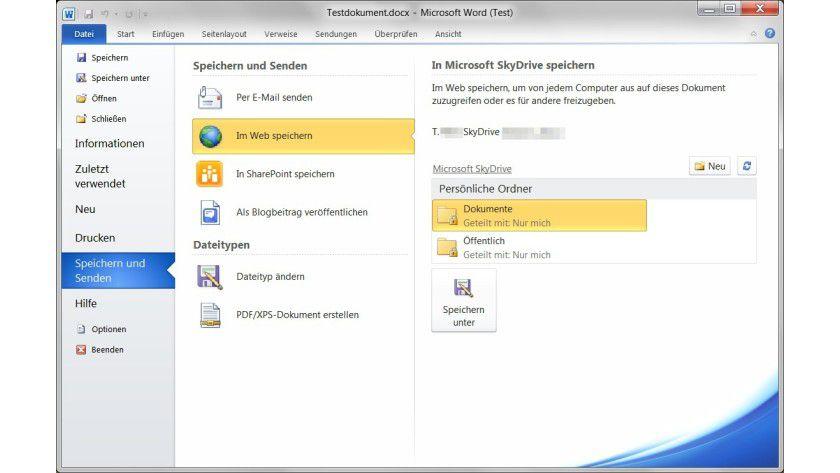 Cloud-Speicher: Die Kernanwendungen von Office 2010, etwa Word, verfügen über die Möglichkeit, Dokumente direkt auf SkyDrive zu speichern.