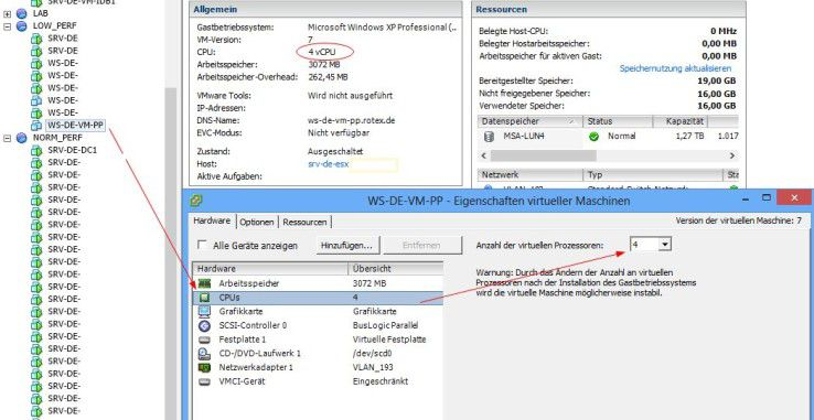 VMware: So konfigurieren Sie virtuelle CPUs in vSPhere.