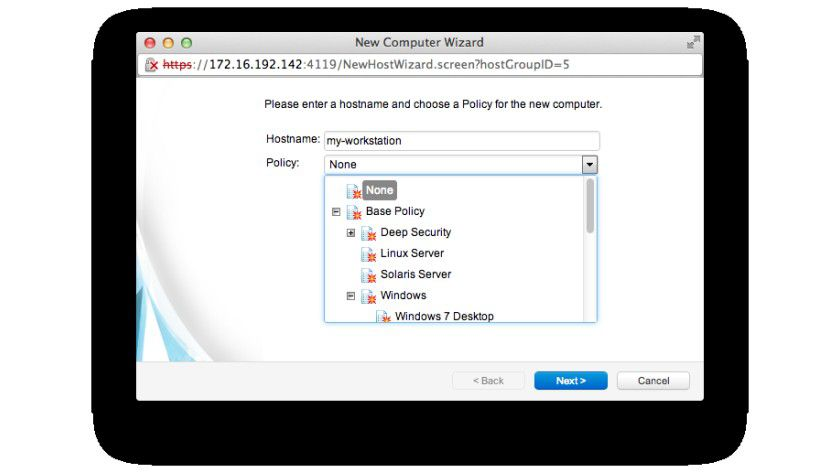 Lastenträger: Im zweiten Schritt muss dem Rechner eine Sicherheits-Policy zugewiesen werden.