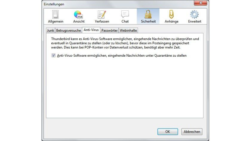 Kooperation: Der Benutzer kann mithilfe einer Option das Zusammenspiel zwischen Virenscanner und Thunderbird verbessern, um einem etwaigen Datenverlust vorzubeugen.
