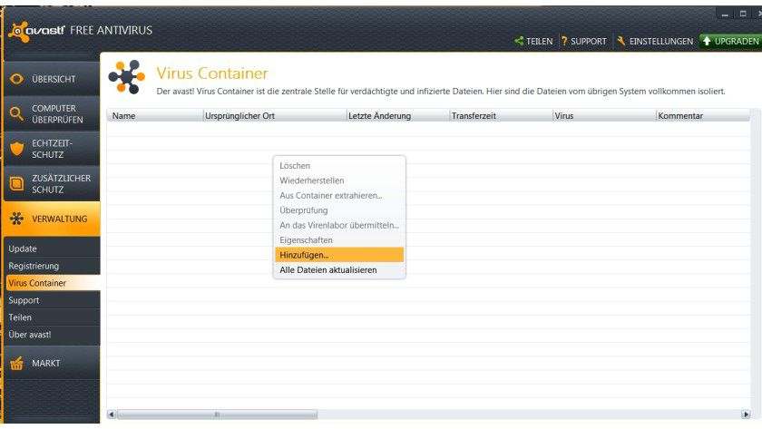 Isoliert: Der Anwender kann Dateien, die ihm verdächtig erscheinen, auch manuell in den Virus Container genannten Quarantänebereich verschieben.