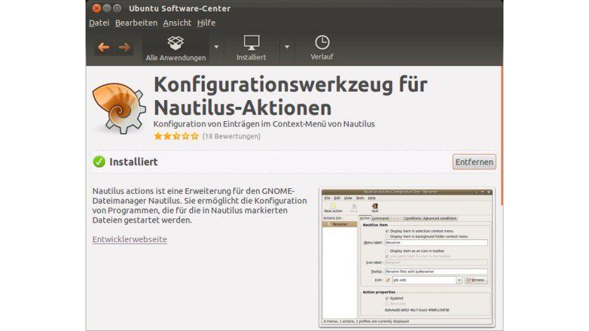 """Voraussetzung: Die Erweiterung """"Nautilus actions"""" muss man in der Regel erst nachinstallieren, wie hier über das Ubuntu Software-Center."""