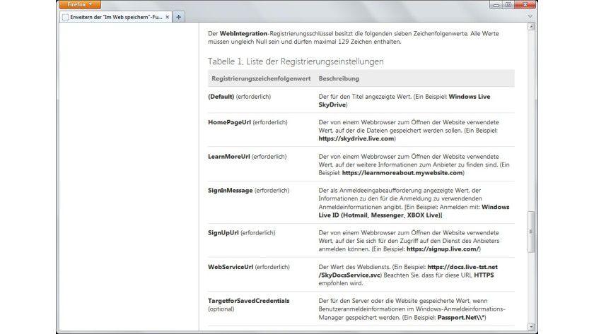 String-Werte: Microsoft hat die möglichen Zeichenfolgewerte für den neuen Registrierungsschlüssel in einer Tabelle zusammengestellt.