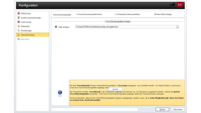 Schutzvorkehrung: Passwörter zum Zugriff auf die Inventarisierungsobjekte lassen sich mithilfe einer Verschlüsselungsdatei codiert speichern.