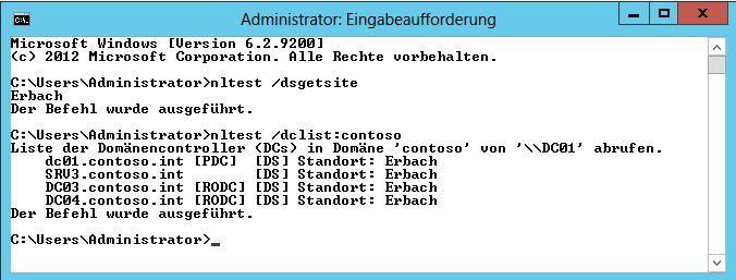 Läuft: Mit Nltest überprüfen Sie die Active-Directory-Standorte und Domänencontroller.