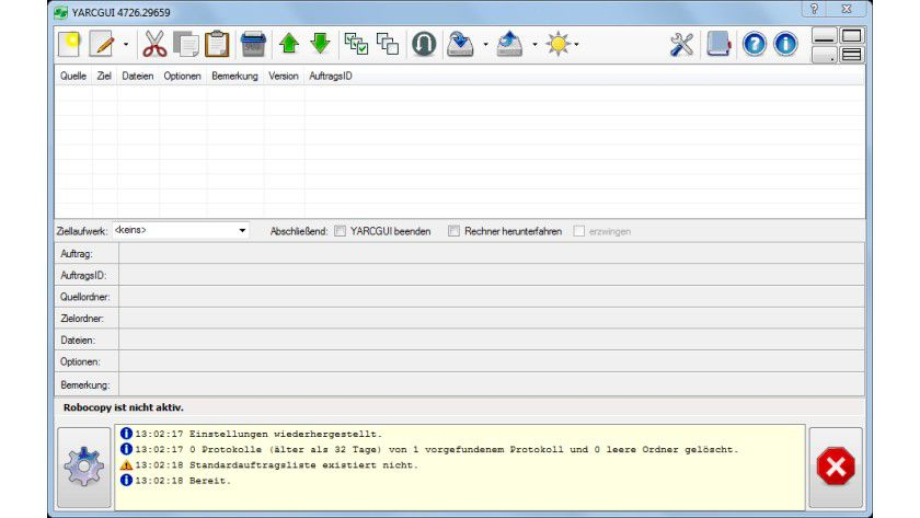 YARCGUI: Die Oberfläche verleiht Microsofts Robocopy eine eingängigere Bedienung und komfortable Kopierauftragsverwaltung.