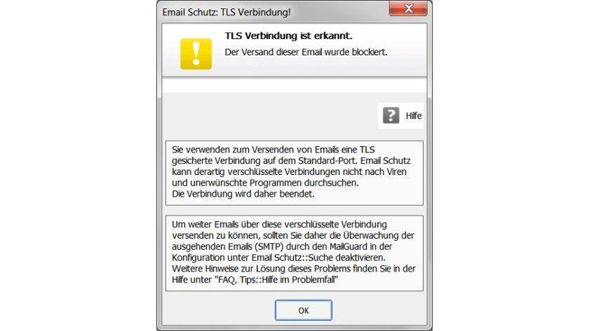 Blockiert: Bei SSL-gesicherten Verbindungen über Standardports reagiert der E-Mail-Schutz von Avira mit einer Fehlermeldung.