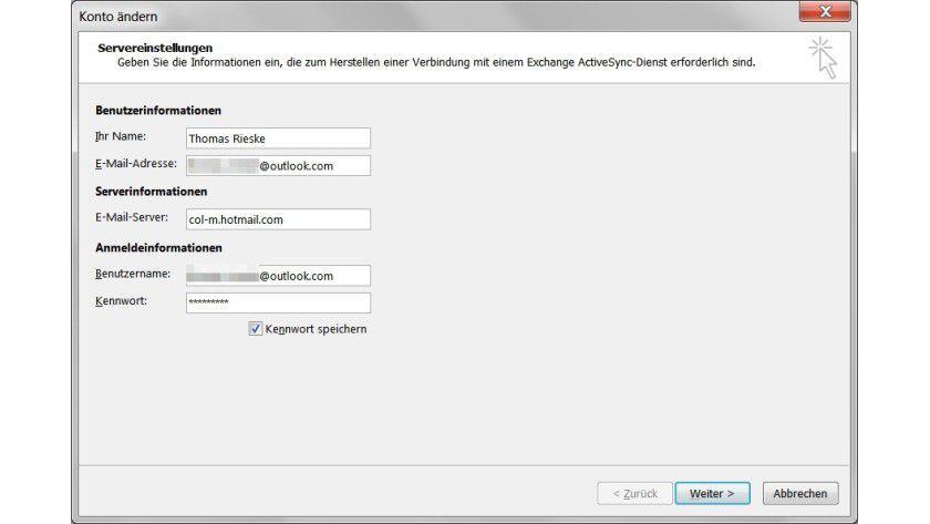Synchronisierung: In Outlook 2013 lassen sich Daten per Exchange ActiveSync mit einem Webmail-Account automatisch abgleichen.