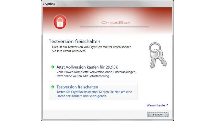Demoversion: Bevor man die Testversion von CryptBox nutzen kann, muss man sie kostenlos freischalten lassen.