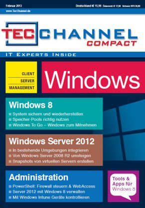 TecChannel Compact 01/2013: Über 160 Seiten zu Windows 8 und Windows Server 2012.