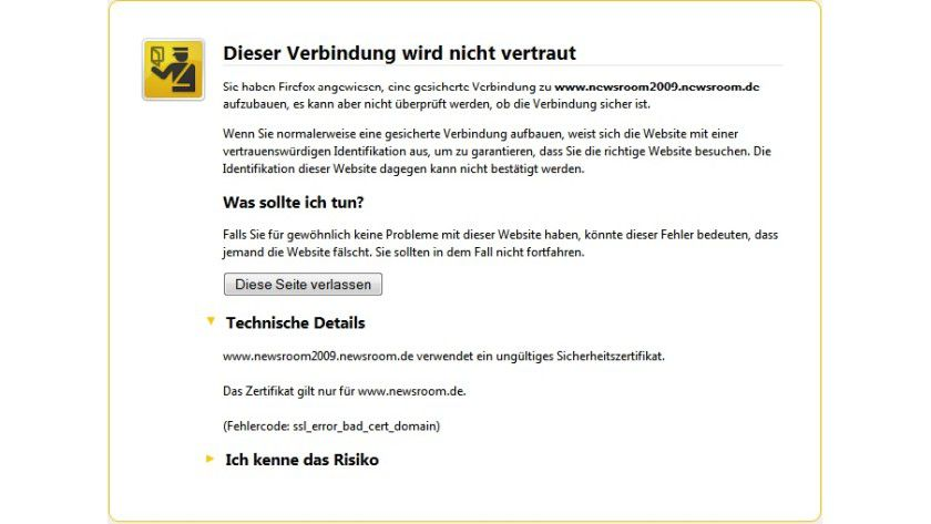 Identitätsproblem: Das Zertifikat für die sichere Verbindung gilt nicht für die Subdomäne, die der Nutzer versucht zu öffnen, sondern nur für www.newsroom.de.