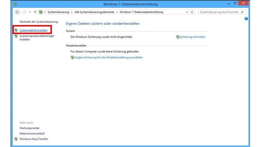Gut verborgen: Wer unter Windows 8 ein Image erstellen will, muss in der Systemsteuerung die Windows 7-Dateiwiederherstellung aufrufen.